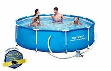 "Above-Ground Swimming Pool Set 10' x 30"" Power Steel Frame Family Children Swim"