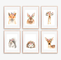 Woodland Floral Boho Animal Prints Baby Nursery Childrens Bedroom Pictures Decor