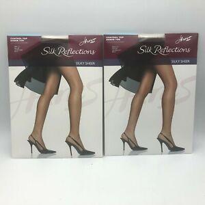 Lot  2 Hanes Silk Reflections Control Top Pantyhose Silky Sheer Toe AB 2010 T2
