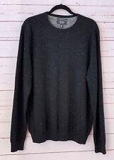 NORDSTROM Mens Shop Size L 100% Cashmere Crewneck Pullover Sweater Black Marled