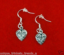 VINTAGE STYLE ANTIQUE SILVER HEART CHARM DANGLE EARRINGS~VALENTINES DAY GIFT