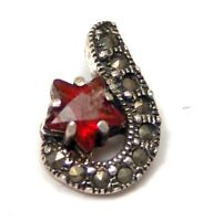 Sterling Silver Pendant Marcasite Garnet color Star