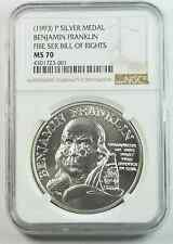 1993 P $1 Franklin Fire Service Bill of Rights Silver Medal NGC MS70
