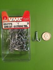 1- VMC 6X STRONG TREBLE CONE CUT HOOKS Size 1 -25 In Box