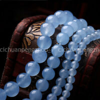 "4/6/8/10/12mm Natural Blue Jade Round Gemstone Loose Beads 15"" Strand AAA"