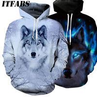 Women Men Animal Graphic 3D Wolf Print Hoodie Sweater Sweatshirt Pullover Tops