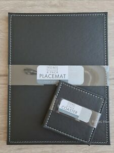 Set of 4 Black Faux Leather Placemats & Coasters Table Place Settings Dining