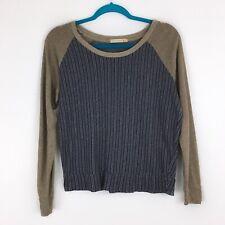 Alternative Raglan Long Sleeve Cotton Shirt Top Blue Green Women's Size Small