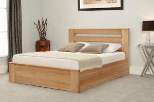 Modern and Stylish Ottoman Solid Oak Gas Lift Storage Bed, Oak, Double, 5FT, 6FT