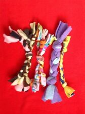 Dog Fleece Braided Tug & Chew Toy - Set of 4 Small Homemade Toys 003f
