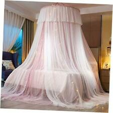 Princess Bed Canopy for Girls,Bed Canopy Curtain- Double Layer Pink/White
