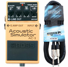 Boss AC-3 Acoustic Simulator Effects Unit + Keepdrum Guitar Cable 3M