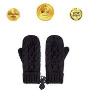 Womens Ladies Knit Mittens Glove Fingerless Black Lined Winter Gloves