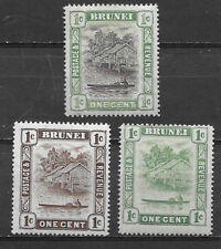 BRUNEI , 1907/21 , SET OF 3 1c STAMPS , PERF , M/H