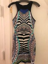 Express Tribal Print Stretch Sheath Dress, Neon Color Bursts Size S