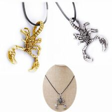 HOT Vintage Necklace Scorpion Scorpio Gold/Silver Pendant Leather Rope Jewelry