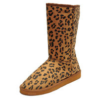 New women's shoes mid shaft boot faux fur lining suede like winter tan leopard