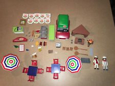 Playmobil PIZZERIA 6291 & PIZZA DELIVERY CAR 6292 + tables and chairs and more!!
