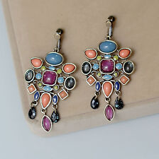 earrings Clip Golden Candlestick Multicolored Blue Coral Ethinque B13