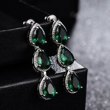 Women Lady Party Pear Green Emerald Crystal Silver Tone Pierced Dangle Earrings