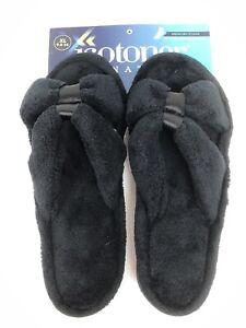 isotoner Womens Micro Terry X Slide Slipper Black Satin Trim Memory Foam 9.5-10