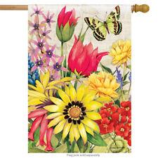 "Botanical Garden Spring House Flag Butterfly Floral Decorative Banner 28"" x 40"""
