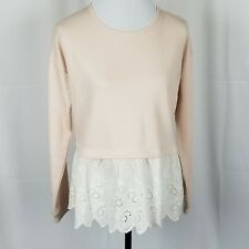 NWT Charmed Hearts Pink Eyelet Lace Trim Cropped Sweatshirt Fleece Top Size L