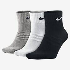 1-3 Pairs Nike Crew Quarter Ankle Socks Unisex Mens Womens White Black Grey