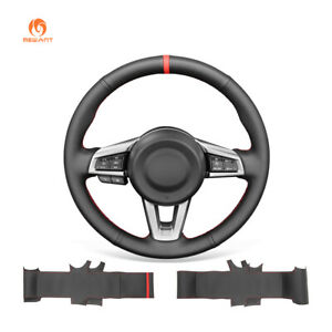 MEWANT Black PU Leather Car Steering Wheel Cover for Mazda MX-5 2016-2019