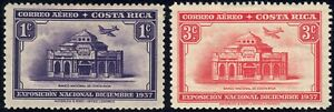 1938 Costa Rica SC# C35-C36 - Natl. Products Exposition - National Bank - M-H