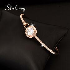 Elegant Simply Square Zircon Bangle Women Bracelets 18K Rose Gold Plated SL204