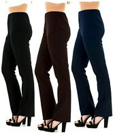 33 IN Leg TALL Womens ELASTICATED Bootcut RIBBED Stretch TROUSERS UK Sizes 6-28