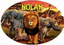 plaque de porte ovale chambre animaux afrique personnalisée prénom choix réf 197