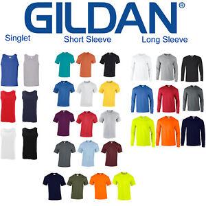 Gildan Mens Blank Plain Basic Short Long Sleeve Heavy Cotton T Shirt Tee Top
