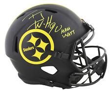 "Steelers T.J. Watt ""Mega Watt"" Signed Eclipse Full Size Speed Rep Helmet JSA Wit"