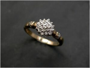 Diamond Cluster Ring size L 9ct Gold real diamonds London Quality.