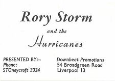 Beatles ULTRA RARE RORY STORM AND THE HURRICANES ORIGINAL 1959 BUSINESS CARD!