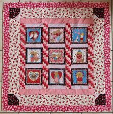 Valentine's Day Sue Dreamer Bears Handmade Finished Pieced Quilt REDUCED