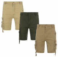New Soul Star Men's Plain Cargo Combat Bermuda Shorts Summer Sand Olive Stone