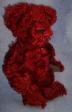 "11"" Boyds plush MOHAIR deep dark red BEAR HOLLY stuffed  jointed  Valentine'sDay"