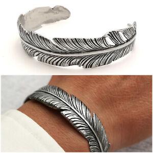 Bracciale da uomo in acciaio inox rigido braccialetto a fascia piuma regolabile