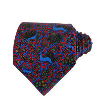 RECENT Holland & Holland Silk Red/Blue/Green Tie Hunting Deer Animal Forest Mens