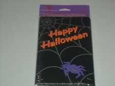 Eight Black Happy Halloween Invitations With Spider And Eight White Envelopes