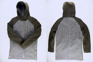C587 MOODS of NORWAY wool blend tweed hooded jacket size S wmns, as unworn!