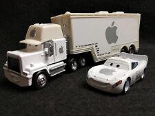 Lot 2 Custom Disney Pixar Cars White Apple Lightning Mcqueen & Hauler Truck 1/55