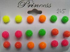LOT 9 paire boucle d'oreille style shamballa couleur assortie puce 8 mm neuf