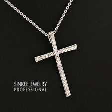 Simply Fashion Crystal Cross Pendant Necklace Chain For Women 18K White Gold