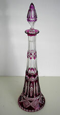 VAL ST LAMBERT AMETHYST OR PLUM CASED CUT CLEAR CRYSTAL DECANTER