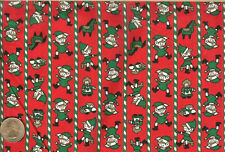 "VINTAGE! CHRISTMAS MINI ELVES ON RED - MANES FABRIC CO. - BTFQ -18""X22"""