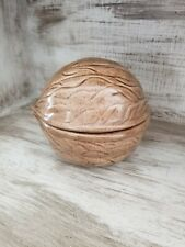 Fun Vintage Ceramic Nut Covered Dish Walnut Trinket Candy Container Large